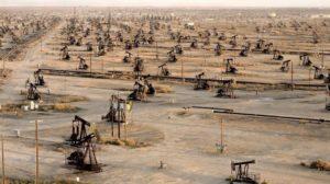 地平線まで広がる油田地帯
